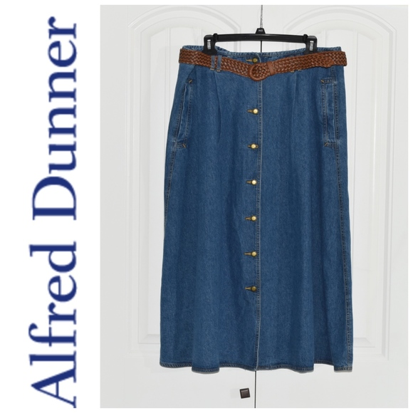 6ffe26ef8af Long Jean Skirt With Brown Woven Belt Size 20